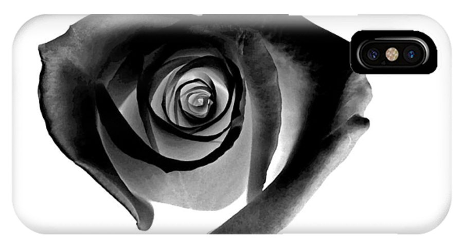 Black IPhone X Case featuring the painting Black Heart-shaped Rose by Glennis Siverson