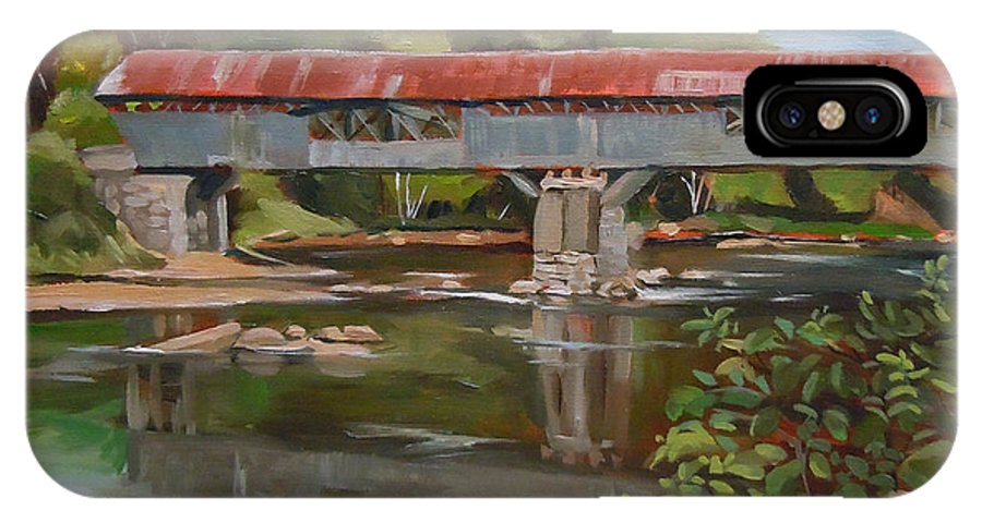 White Mountain Region IPhone X Case featuring the painting Blair Bridge Campton New Hampshire by Nancy Griswold