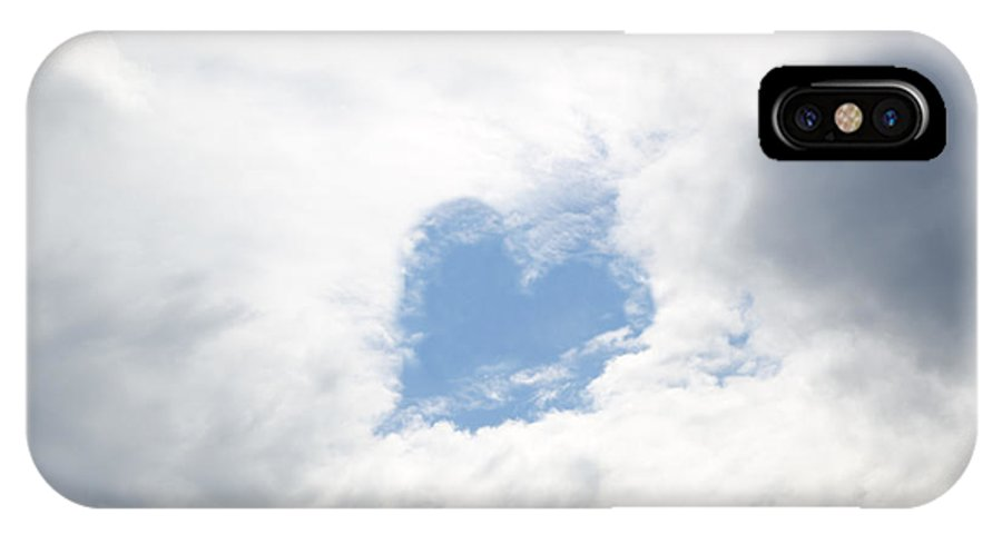 Heart IPhone X Case featuring the photograph Blue Heart In Sky by Mats Silvan