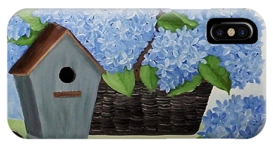 Blue Hydrangea IPhone X Case featuring the painting Blue Hydrangea by Peggy Miller