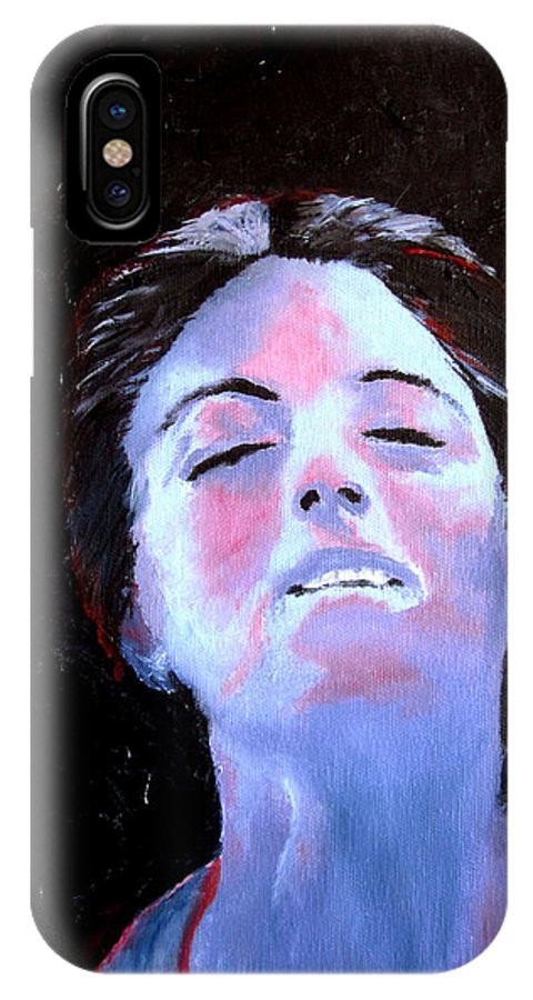 Abstract IPhone X Case featuring the painting Blue Lady by Maris Sherwood