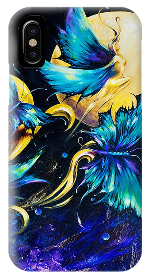Fantasy IPhone X Case featuring the painting Blue Morpho by Dina Dargo