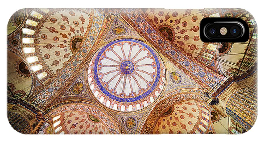 Arch IPhone X Case featuring the photograph Blue Mosque Domed Ceiling by Artur Bogacki