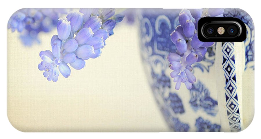 Muscari IPhone X Case featuring the photograph Blue Muscari Flowers In Blue And White China Cup by Lyn Randle