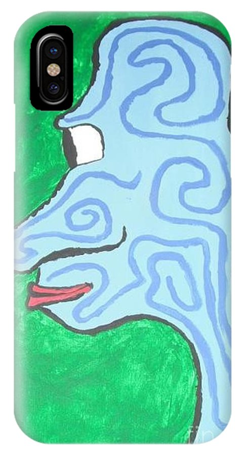 Blue IPhone X Case featuring the painting Blue Profile by Jeannie Atwater Jordan Allen