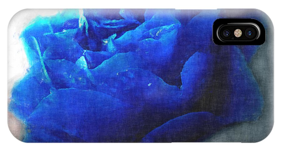 IPhone X Case featuring the digital art Blue Rose by Debbie Portwood