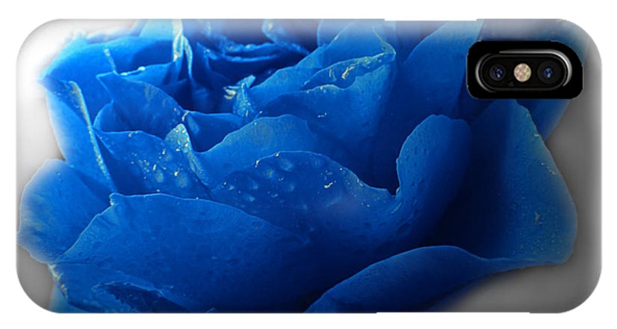 Nature IPhone X Case featuring the photograph Blue Rose With Drops by Debbie Portwood