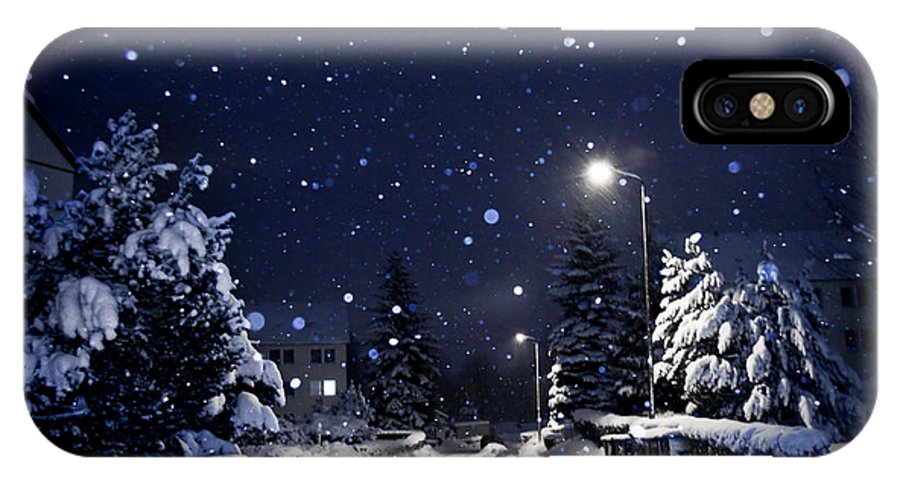 Silent IPhone X Case featuring the photograph Blue Silent Night by Dorit Fuhg