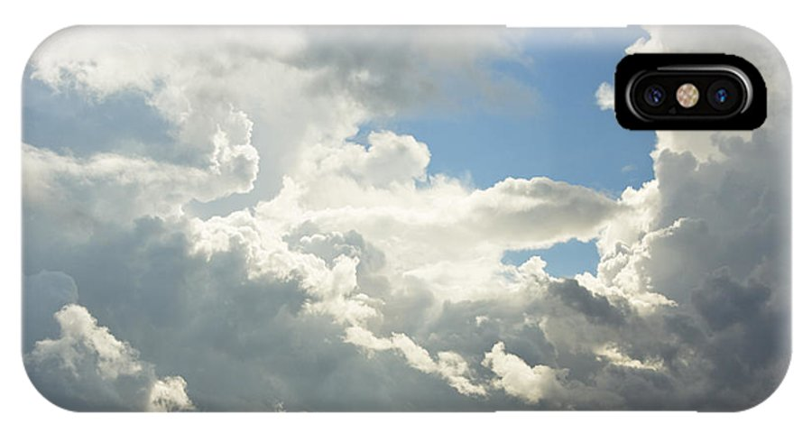 Blue IPhone X Case featuring the photograph Blue Sky And Building Storm Clouds Fiane Art Print by Keith Webber Jr
