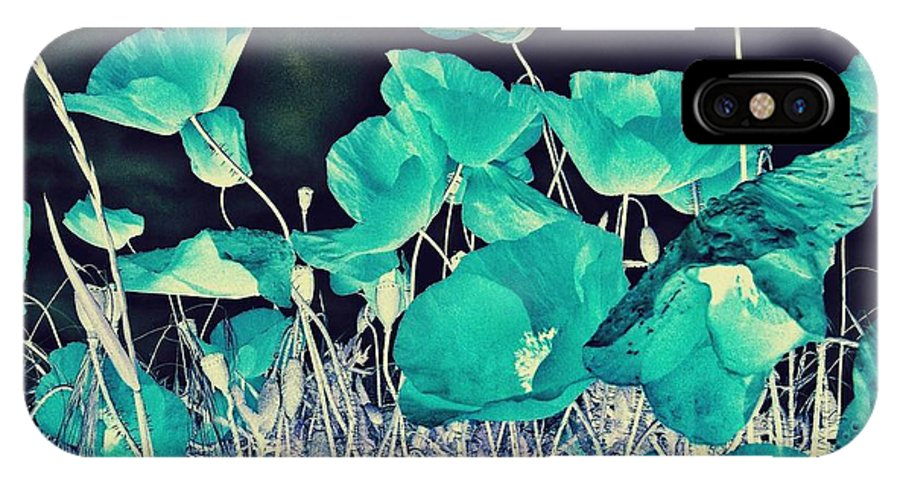 Poppies IPhone X / XS Case featuring the photograph Blue Vision by Marianna Mills