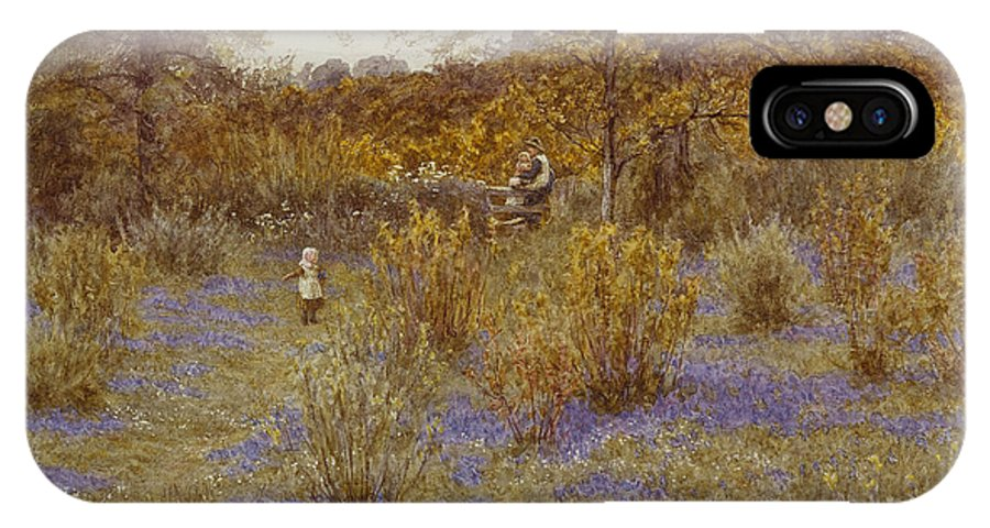 Bluebell Copse IPhone X Case featuring the painting Bluebell Copse by Helen Allingham
