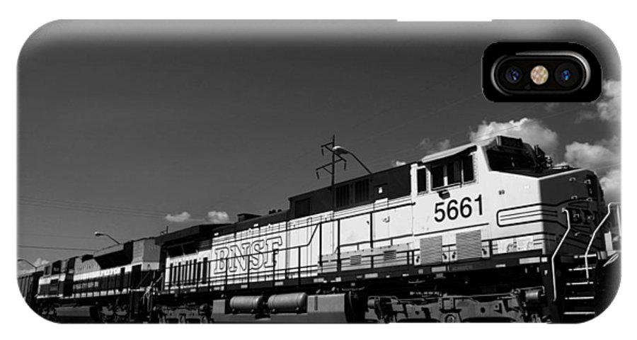 Burlington IPhone X / XS Case featuring the photograph Bnsf Bw by Nina Fosdick