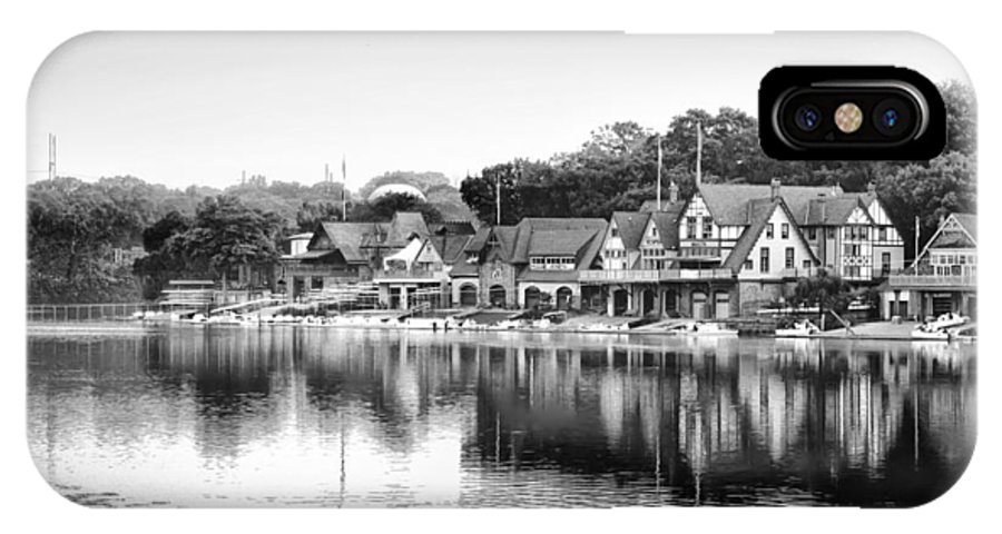 Boathouse Row IPhone X Case featuring the photograph Boathouse Row In Black And White by Bill Cannon