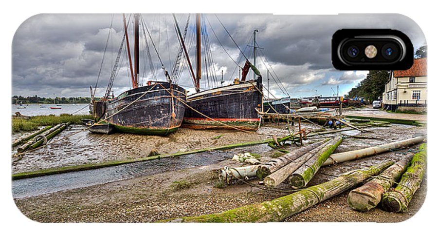 Butt And Oyster IPhone X Case featuring the photograph Boats And Logs At Pin Mill by Gary Eason