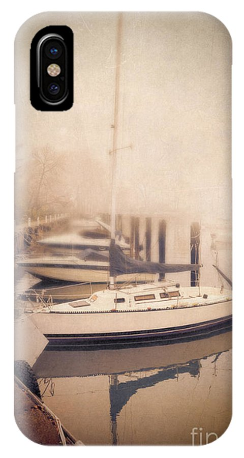 Ship IPhone X Case featuring the photograph Boats In Foggy Harbor by Jill Battaglia