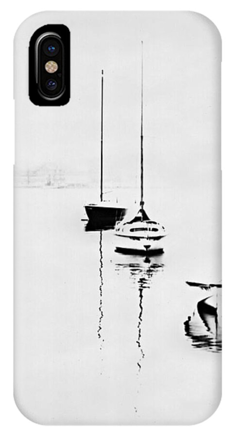 IPhone X / XS Case featuring the photograph Boats On Foggy Lake Lucerne by Bob Wall