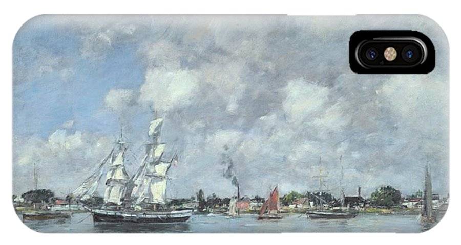 Bordeaux IPhone X Case featuring the painting Boats On The Garonne by Eugene Boudin