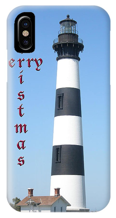 Christmas IPhone X / XS Case featuring the photograph Bodie Lighthouse - Outer Banks - Christmas Card by Mother Nature