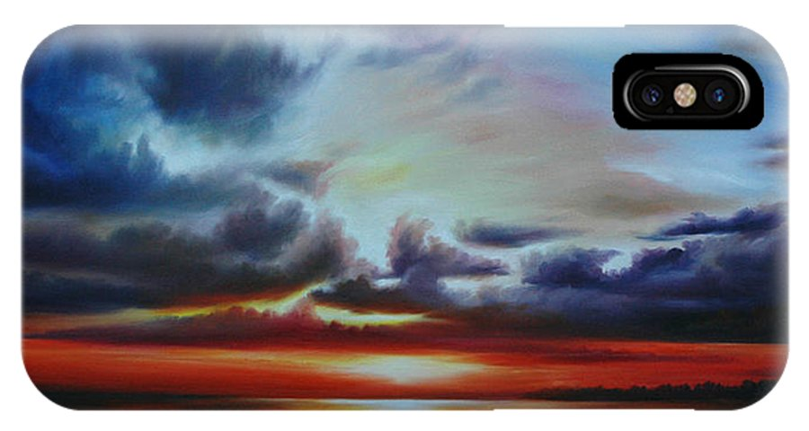 Bright Clouds IPhone X Case featuring the painting Botany Bay Sunrise by James Christopher Hill