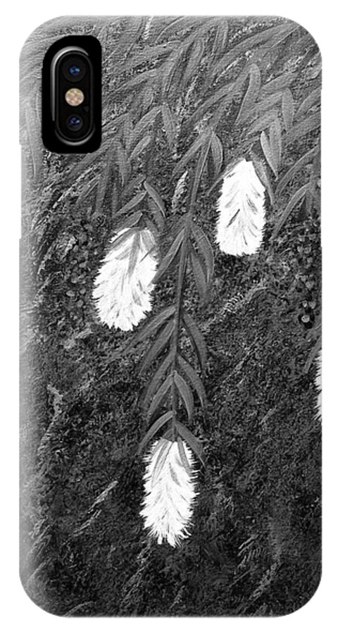 Bottlebrush Plant IPhone X / XS Case featuring the painting Bottlebrush Plant B W by Barbara Griffin