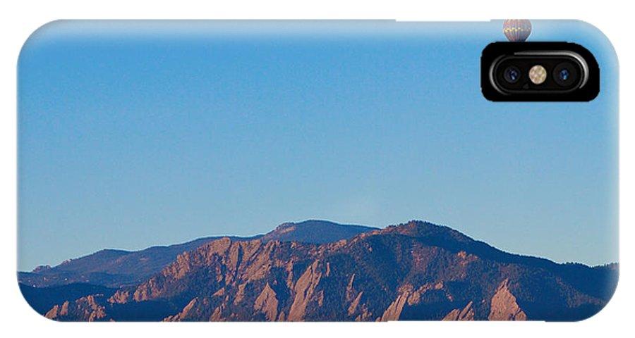 'hot Air Balloon' IPhone X Case featuring the photograph Boulder Colorado Flatirons Hot Air Balloon View by James BO Insogna