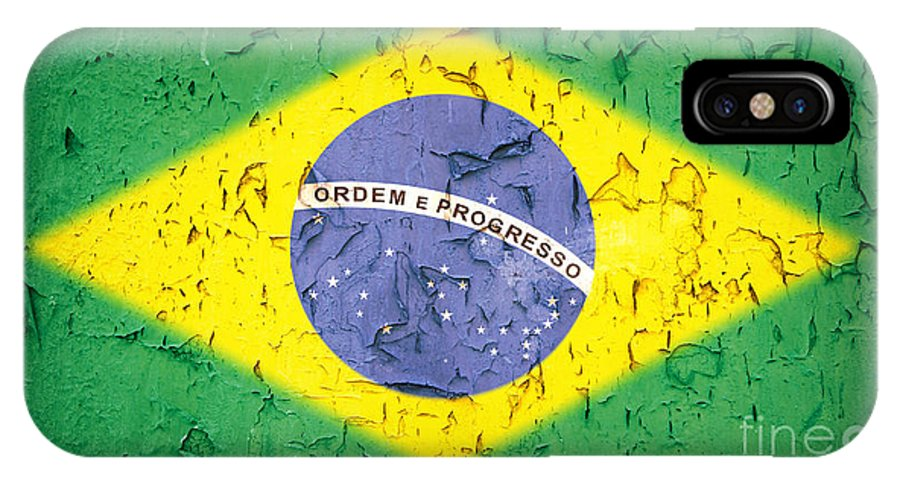 Aged IPhone X Case featuring the photograph Brazil Flag Vintage by Jane Rix
