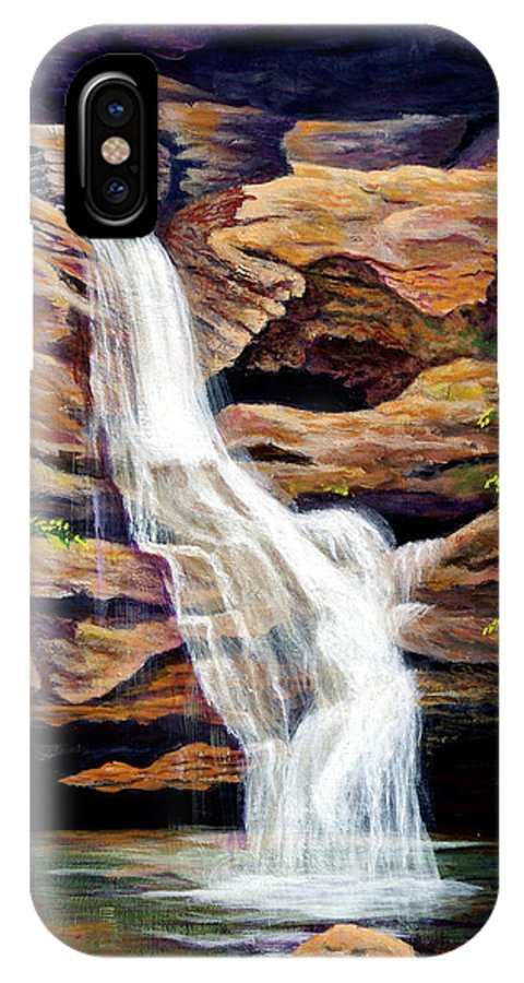 Waterfall IPhone X Case featuring the painting Bridal Shower by Nancy Cupp