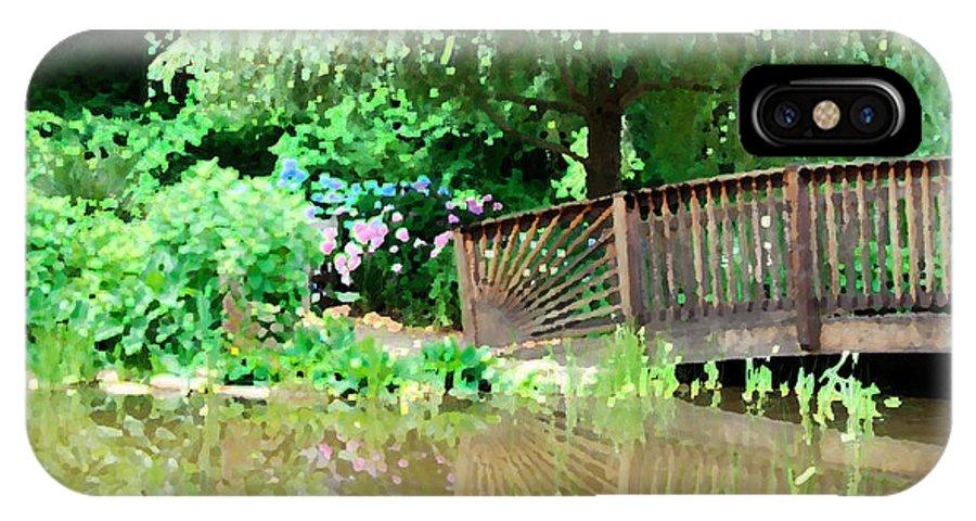 Nature IPhone X Case featuring the digital art Bridge And Hydrangea by Eva Kaufman