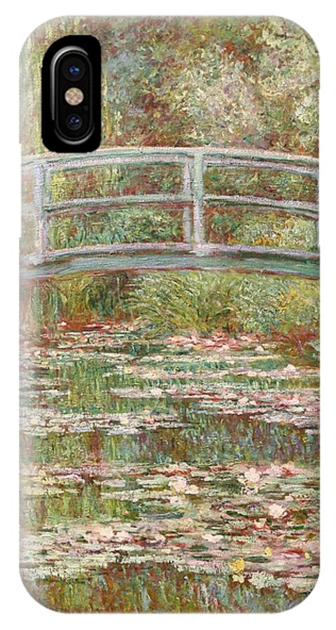 Monet IPhone X Case featuring the painting Bridge Over A Pond Of Water Lilies by Tilen Hrovatic