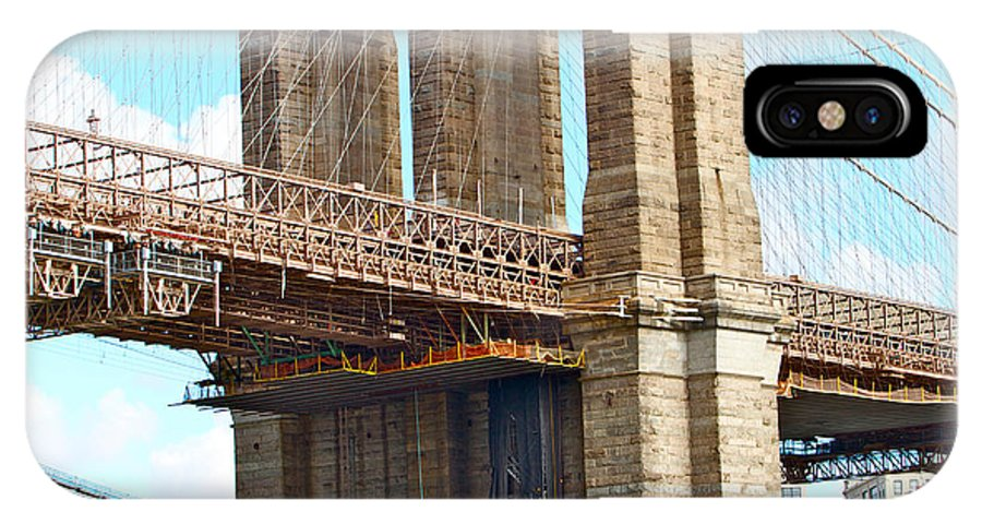Bridge Close Up New York City Water View IPhone X Case featuring the photograph Bridge View One by Alice Gipson