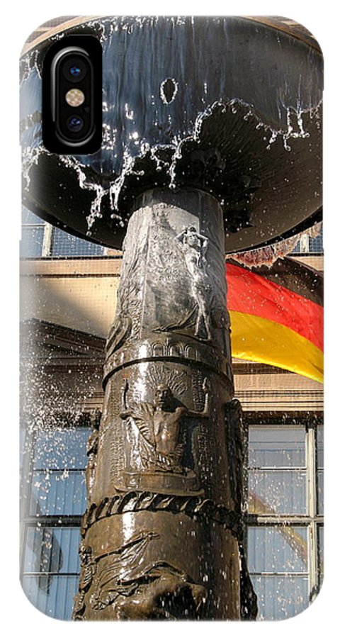 Fountain IPhone X Case featuring the photograph Bronze Fountain by Christiane Schulze Art And Photography