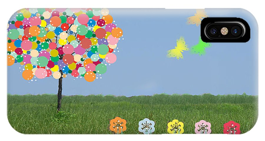 Tree IPhone X Case featuring the mixed media Bubblegum Tree by Rosalie Scanlon