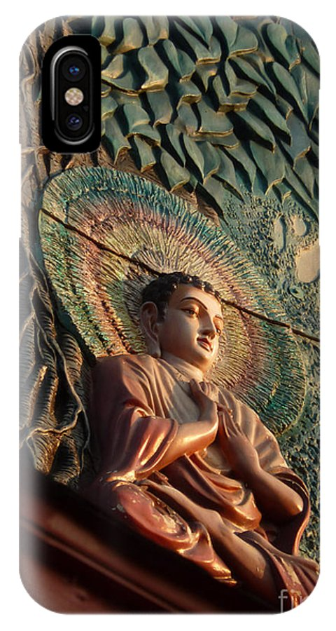 Leaf IPhone X Case featuring the photograph Buddha Relief by Angela Wright