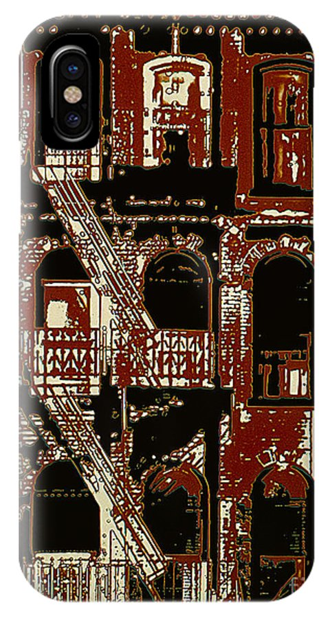 Building Facades IPhone X Case featuring the photograph Building Facade In Brown And Red by Rich Walter