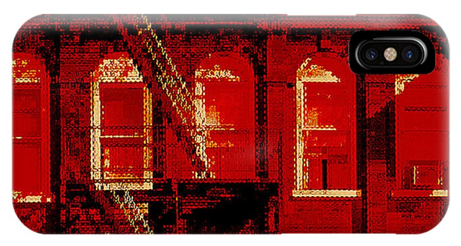 Building Facades IPhone X Case featuring the photograph Building Facade In Red And White by Rich Walter