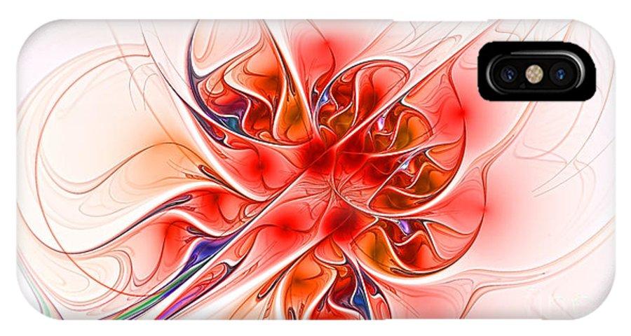 Fractal IPhone X Case featuring the digital art Burning Desire by Deborah Benoit