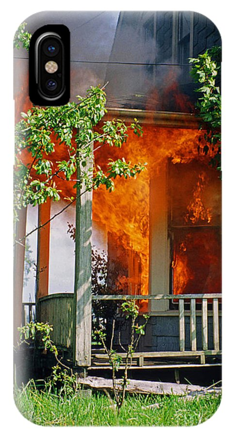 Fire IPhone X / XS Case featuring the photograph Burning House by Randy Harris