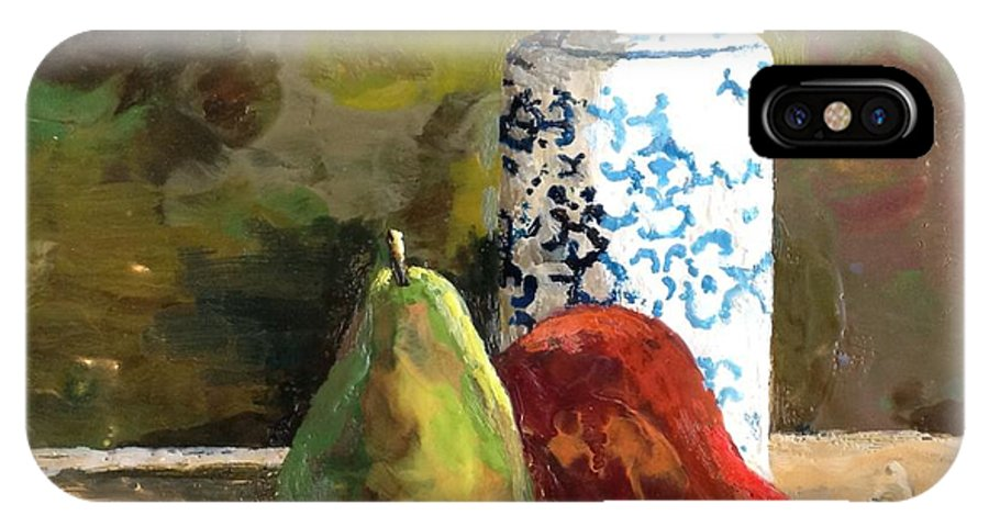 Pears IPhone X Case featuring the painting Burnished Pears With Vase by Ruth Stromswold