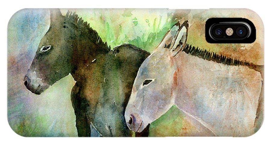 Burro IPhone X Case featuring the painting Burros by Arline Wagner