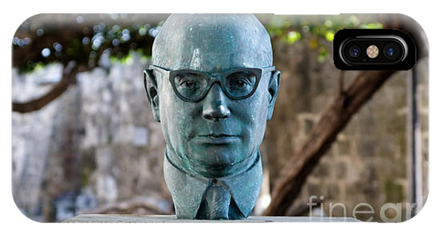 60s IPhone X / XS Case featuring the photograph Bust Of Carlos Lleras Restrepo In Cartagena De Indias Colombia by Jannis Werner