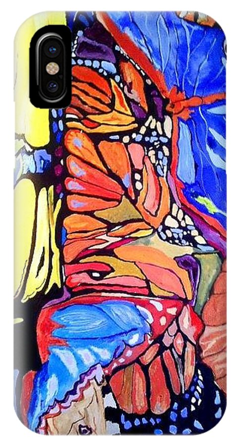 Butterfly Wings IPhone X / XS Case featuring the painting Butterfly Wings by Sandra Lira