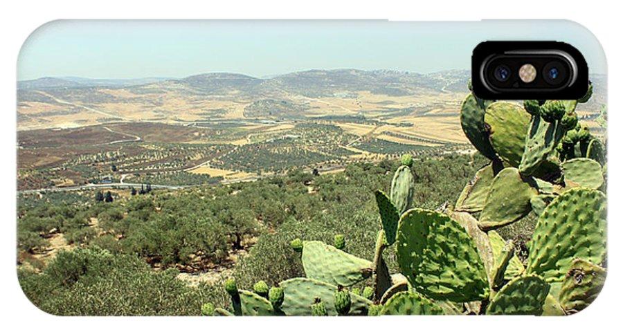 Cactus IPhone X Case featuring the photograph Cactus At Samaria by Munir Alawi