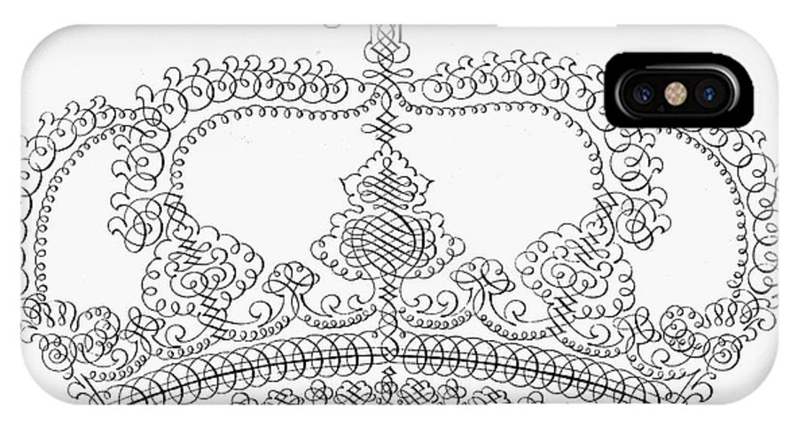 18th Century IPhone X Case featuring the photograph Calligraphy Crown by Granger