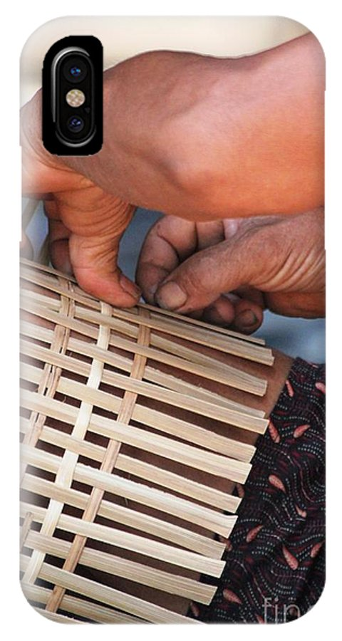 Hands IPhone X Case featuring the photograph Cambodian Basket Weaver by Nola Lee Kelsey