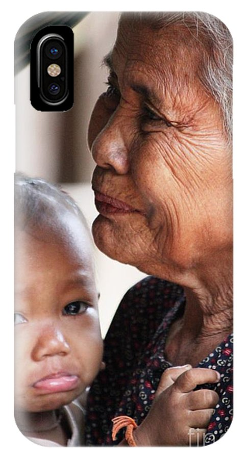 Cambodia IPhone X / XS Case featuring the photograph Cambodian Grandmother And Baby #1 by Nola Lee Kelsey