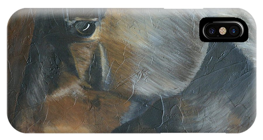 Horse IPhone X / XS Case featuring the painting Camp by Diana Mahnke