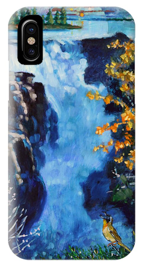 Mountain Waterfall IPhone X Case featuring the painting Can You Hear Me by John Lautermilch