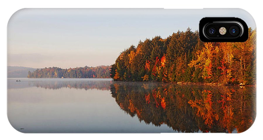 Canada IPhone X Case featuring the digital art Canoe Lake Algonquin by Pat Speirs
