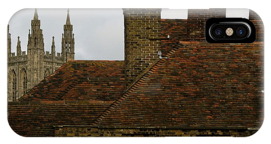 Canterbury Cathedral IPhone X Case featuring the photograph Canterbury Rooftops by Jan Cipolla