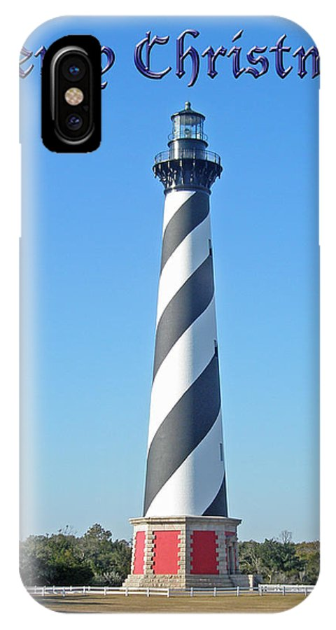 Christmas IPhone X / XS Case featuring the photograph Cape Hatteras Lighthouse - Outer Banks - Christmas Card by Mother Nature